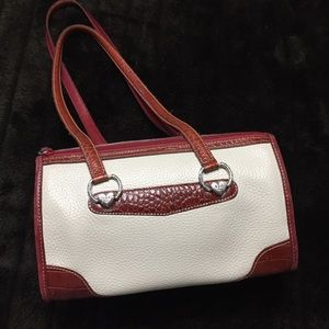 Brighton Pebbled Leather Cream & Brown Satchel